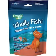 Emerald Pet Wholly Fish! Salmon Recipe Cat Treats, 3-oz bag