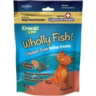 Emerald Pet Wholly Fish! Digestive Health Salmon Recipe Cat Treats, 3-oz bag