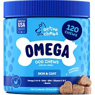 Active Chews Premium Omega Skin & Coat Pure Fish Oil Dog Supplement, 120 count