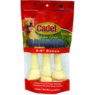 Cadet Gourmet Knotted Rawhide Bones for Dogs, Beef, 8-9 inches, 3-pack