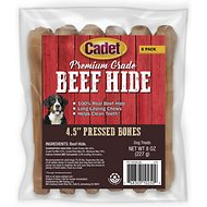 Cadet Gourmet Pressed Rawhide Bone for Dogs, Beef, 4.5-in, 6-pack