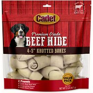 "Cadet Premium Grade Knotted Rawhide 4-5"" Bones Dog Treats, 2-lb bag"