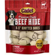 Cadet Premium Grade Knotted Rawhide Bones Dog Treats, 1-lb bag, 4-5 inches
