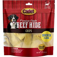 Cadet Premium Grade Chicken Basted Rawhide Chips Dog Treats, 1-lb bag