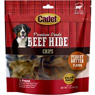 Cadet Premium Grade Peanut Butter Basted Rawhide Chips Dog Treats, 1-lb bag