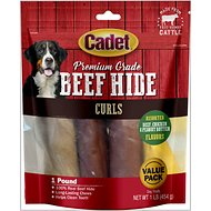 Cadet Premium Grade Assorted Rawhide Curls Dog Treats, 1-lb bag