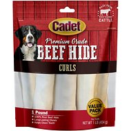 Cadet Premium Grade Rawhide Curls Dog Treats, 1-lb bag