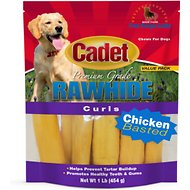 Cadet Premium Grade Chicken Basted Rawhide Curls Dog Treats, 1-lb bag