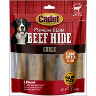 Cadet Premium Grade Peanut Butter Rawhide Curls Dog Treats, 1-lb bag