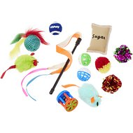 All Kind Plush, Teaser & Ball Variety Pack Cat Toy with Catnip, 12-count