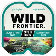 Wild Frontier Salmon & Trout Recipe Cuts in Gravy Adult Grain-Free Wet Cat Food Trays, 2.6-oz, case of 24 twin-packs