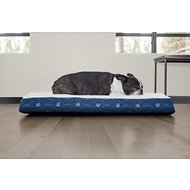 FurHaven Faux Sheepskin & Flannel Paw Decor Print Deluxe Orthopedic Pet Bed, Twilight Blue, Medium