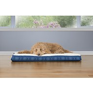 FurHaven Faux Sheepskin & Flannel Paw Decor Print Deluxe Orthopedic Pet Bed, Twilight Blue, Large