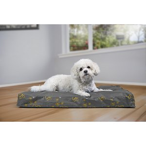 FurHaven Indoor/Outdoor Garden Orthopedic Cat & Dog Bed w/Removable Cover, Iron Gate, Medium; FurHaven's Garden Indoor/Outdoor Deluxe Orthopedic Pet Bed allows your paw-tner to not only rest comfortably indoors, but outdoors too! Available in four different colors and sizes, this orthopedic bed is covered with water-resistant coated poly-canvas to help protect the inside materials from weather and moisture. The orthopedic comfort comes into play with the deep convoluted egg-crate foam core, which gently helps remove pressure from muscles and joints by evenly distributing your pet's weight. And since, there are no bolsters, it's easy for older or disabled pets to step onto!