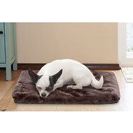 FurHaven Plush Fur Crate Ortho Mat Pet Bed, Espresso, Extra Small
