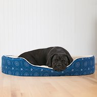 FurHaven Print Flannel Oval Pet Bed, Twilight Blue, Jumbo