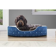 FurHaven Print Flannel Oval Pet Bed, Twilight Blue, Large