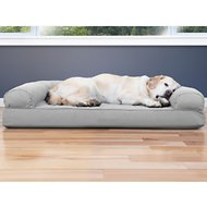 FurHaven Quilted Cooling Gel Top Sofa Pet Bed, Silver Gray, Jumbo