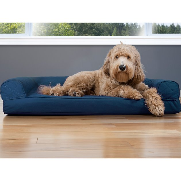 Furhaven Quilted Cooling Gel Top Sofa Pet Bed Navy Large