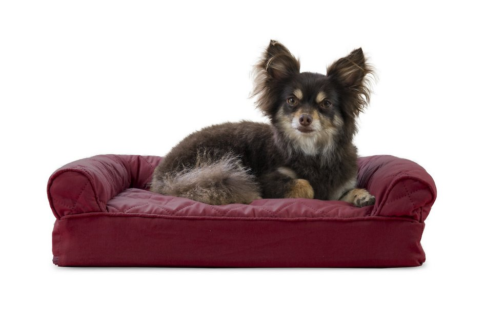 Furhaven Quilted Memory Top Sofa Dog Amp Cat Bed Wine Red