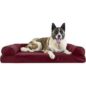 FurHaven Quilted Memory Top Bolster Cat & Dog Bed w/Removable Cover, Wine Red, Jumbo; Give your furry friend a comfy place to lounge with the FurHaven Quilted Memory Top Sofa Pet Bed. This sofa-style bed has three bolsters for use as pillows or walls and a smooth, quilted sleeping surface. It features memory foam that conforms to your paw-tner's shape to provide better overall support for his muscles and joints. The cover is removable and washable for easy cleaning. Ideal for older pets or ones you want to keep off of your furniture, FurHaven Quilted Memory Top Sofa Pet Bed will quickly become your companion\\\'s favorite place to rest and relax.