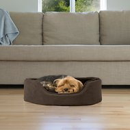 FurHaven Snuggle Terry & Suede Oval Pet Bed, Espresso, Medium