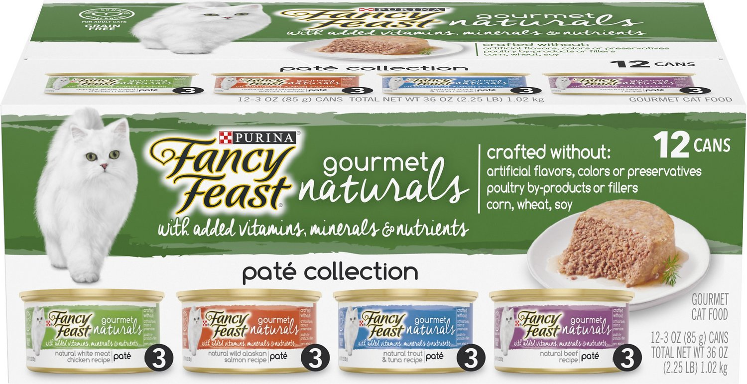 FANCY FEAST Gourmet Naturals Pate Variety Pack Canned Cat Food, 3-oz, case  of 12 - Chewy.com