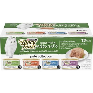 Fancy Feast Gourmet Naturals Pate Variety Pack Canned Cat Food, 3-oz, case of 12