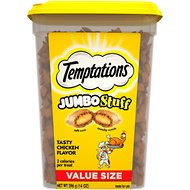 Temptations Jumbo Stuff Tasty Chicken Flavor Cat Treats, 14-oz tub
