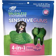 Ark Naturals Sensitive Gums Brushless Toothpaste 4-in-1 Dog Dental Chews, Small Breeds, 8 - 20 lbs