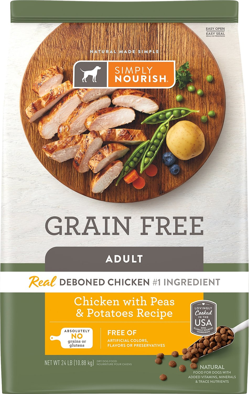 Free Adult Photos simply nourish grain-free chicken with peas & potatoes recipe adult dry dog  food, 24-lb bag
