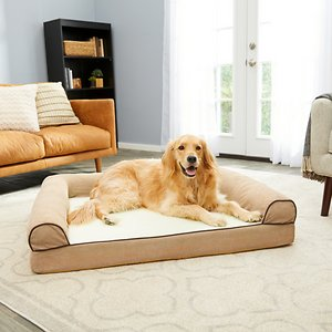 FurHaven Faux Fleece Cooling Gel Bolster Dog Bed w/Removable Cover, Cream, Jumbo; FurHaven's Faux Fleece & Chenille Soft Woven Cooling Gel Top Sofa Dog Bed will have your sidekick feeling like a VIP—very important pet that is! Now, your furry friend can enjoy her very own couch with a comfortable medical-grade, orthopedic foam core that conforms to her shape, supporting joints and pressure points! But that's not all—this bed also has a unique layer of gel-infused memory foam to keep your paw-tner cool by reducing the soft faux fleece surface by one or two degrees! The woven chenille fabric bolsters not only provide a paw-fect place to snuggle up against, but they also double as a pillow, so your BFF can rest her head after a long day. Your dog won't be the only one benefiting from this couch, because now you won't have to worry about her fur getting on your own couch! And even when her sofa gets a little furry, all you have to do is remove the cover and wash it in your washing machine! This dog bed is also a great option for older pets who may not be able to jump onto higher surfaces.