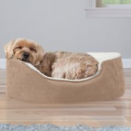 FurHaven Faux Sheepskin & Suede Orthopedic Oval Dog Bed, Clay, Small