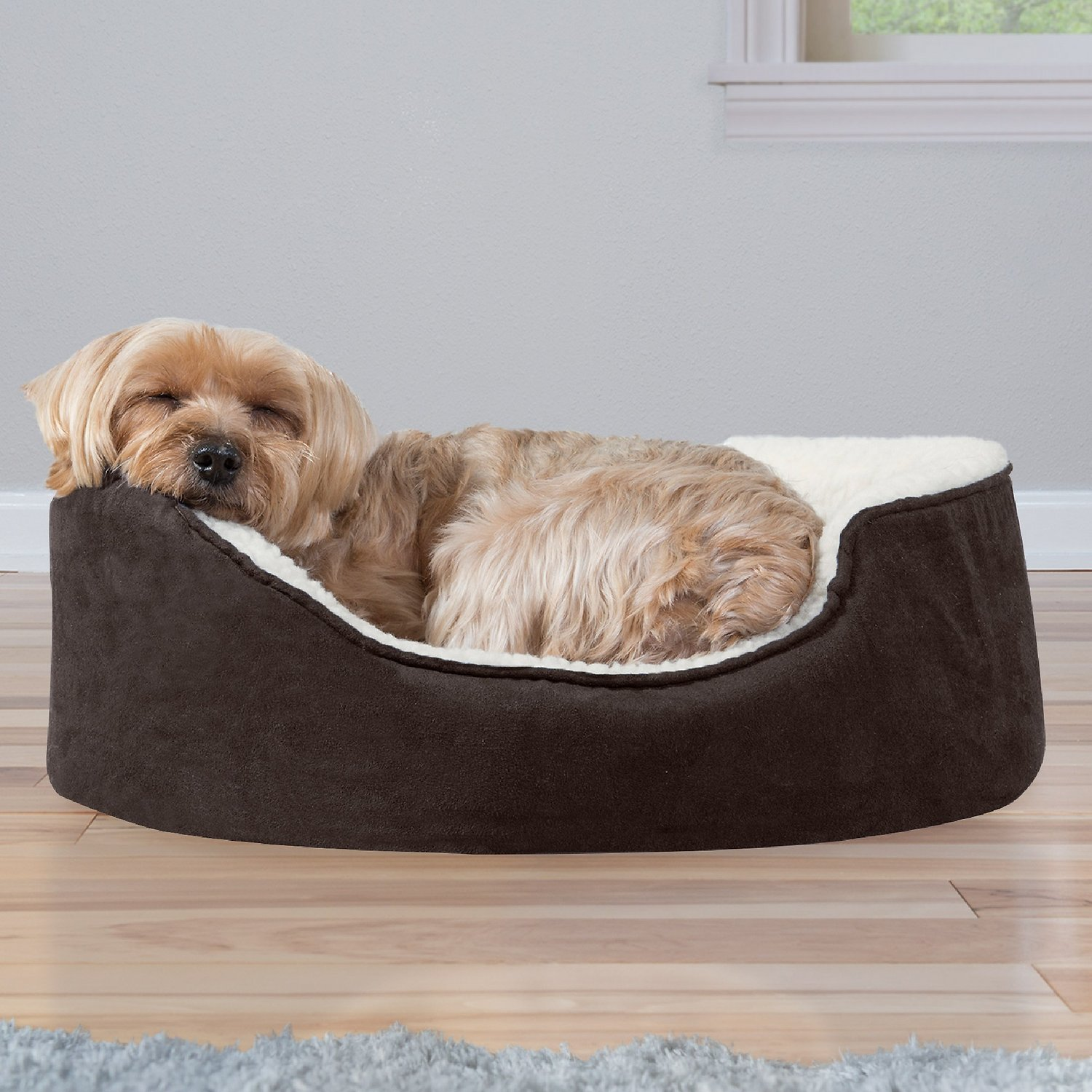 Bed 180 Breed.Furhaven Faux Sheepskin Suede Orthopedic Oval Dog Bed Espresso Small