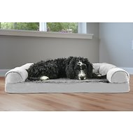 FurHaven Plush & Suede Memory Top Sofa Dog Bed, Gray, Large