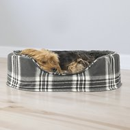 FurHaven Snuggle Faux Sheepskin & Plaid Oval Dog Bed, Smoke Gray, Medium