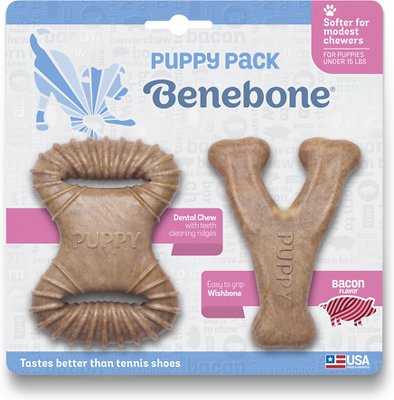 Benebone Bacon Flavor Tough Puppy Chew Toy, 2 count