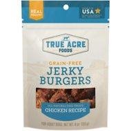 True Acre Foods Jerky Burgers Chicken Recipe Grain-Free Dog Treats, 4-oz bag