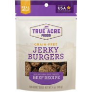 True Acre Foods Jerky Burgers Beef Recipe Grain-Free Dog Treats, 4-oz bag