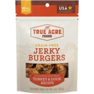 True Acre Foods Jerky Burgers Turkey & Duck Recipe Grain-Free Dog Treats, 4-oz bag