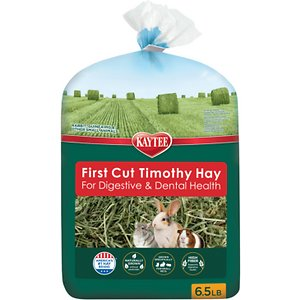 Kaytee First Cut Timothy Hay Small Animal Food, 6.5-lb bag; Kaytee Timothy Hay 1st Cut Small Animal Food is hand-selected for quality and offers hardier strands for your little one. This timothy hay is high in fiber to support healthy digestion and thanks to the strand composition, it also helps wear down your furry friend's teeth, which will continue to grow without regular maintenance. It\\\'s grown to help retain moisture and stored in a protective environment to maintain quality. Plus, you can feel good knowing that your buddy is getting the superior nutritional value she needs and deserves!