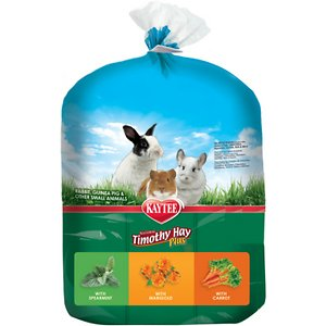 Kaytee Timothy Hay Plus Variety Pack Small Animal Food, 3-pack, 60-oz bag; Treat your small furry friend to all the delicious nutrition that nature has to offer! Kaytee's Timothy Hay Variety Pack comes with three different types of hay—spearmint, marigold and carrot for the flavor variety your BFF loves. This pack features just four ingredients—natural sun-cured timothy hay, dried marigolds, dried carrots and dried mint, for the natural nutrition your pet needs and deserves. It offers a generous helping of fiber to support digestive health and has lower protein and calcium levels than alfalfa hay to support urinary health. This Kaytee hay is ideal for small animals who are over seven-months of age.