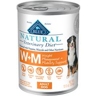 Blue Buffalo Natural Veterinary Diet W+M Weight Management & Mobility Support Canned Dog Food, 12.5-oz, case of 12