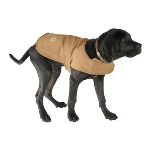 Carhartt Chore Insulated Dog Coat, Brown, Medium; **Remember to measure your pet for the paw-fect fit.** Help keep your dog protected as he performs his daily duties with Carhartt's Chore Dog Coat! This coat is not only fashionable with its corduroy collar and multiple color options, but it's also functional. It's made of Carhartt's firm-hand duck material to help shield your sidekick from wind and light rain. The hook and loop chest tabs and belly tabs make getting this coat on a cinch, while the quilted nylon lining keeps your furry friend nice and warm during those chilly days and nights. This coat also features two pockets for storing small belongings—one is reinforced with rivets and the other one has a flap and shank closure.