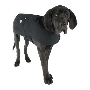 Carhartt Chore Insulated Dog Coat, Black, Large; **Remember to measure your pet for the paw-fect fit.** Help keep your dog protected as he performs his daily duties with Carhartt's Chore Dog Coat! This coat is not only fashionable with its corduroy collar and multiple color options, but it's also functional. It's made of Carhartt's firm-hand duck material to help shield your sidekick from wind and light rain. The hook and loop chest tabs and belly tabs make getting this coat on a cinch, while the quilted nylon lining keeps your furry friend nice and warm during those chilly days and nights. This coat also features two pockets for storing small belongings—one is reinforced with rivets and the other one has a flap and shank closure.