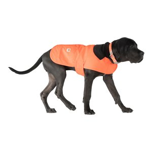 Carhartt Chore Insulated Dog Coat, Hunter Orange, Small; **Remember to measure your pet for the paw-fect fit.** Help keep your dog protected as he performs his daily duties with Carhartt's Chore Dog Coat! This coat is not only fashionable with its corduroy collar and multiple color options, but it's also functional. It's made of Carhartt's firm-hand duck material to help shield your sidekick from wind and light rain. The hook and loop chest tabs and belly tabs make getting this coat on a cinch, while the quilted nylon lining keeps your furry friend nice and warm during those chilly days and nights. This coat also features two pockets for storing small belongings—one is reinforced with rivets and the other one has a flap and shank closure.
