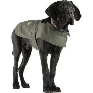 Carhartt Chore Insulated Dog Coat, Army Green, X-Large; **Remember to measure your pet for the paw-fect fit.** Help keep your dog protected as he performs his daily duties with Carhartt's Chore Dog Coat! This coat is not only fashionable with its corduroy collar and multiple color options, but it's also functional. It's made of Carhartt's firm-hand duck material to help shield your sidekick from wind and light rain. The hook and loop chest tabs and belly tabs make getting this coat on a cinch, while the quilted nylon lining keeps your furry friend nice and warm during those chilly days and nights. This coat also features two pockets for storing small belongings—one is reinforced with rivets and the other one has a flap and shank closure.