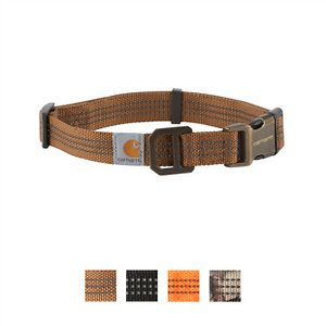 Carhartt Tradesman Dog Collar, Brown, Large; Keep your furry friend safe and secure with the Carhartt Tradesman Dog Collar. This fully adjustable collar is made of durable nylon webbing with duck canvas weave. It has a plastic strap keeper and adjuster with a heavy-duty plastic side release buckle and rugged slotted metal D-ring to hold your pup's tag. This collar is also visible in low light situations as the webbing has reflective triple needle stitch. Get your paw-tner out and about with the Carhartt Tradesman Dog Collar.