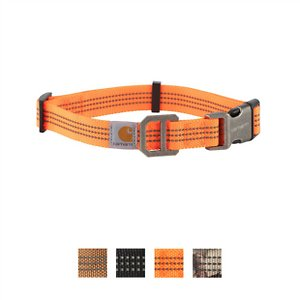 Carhartt Tradesman Dog Collar, Hunter Orange, Medium; Keep your furry friend safe and secure with the Carhartt Tradesman Dog Collar. This fully adjustable collar is made of durable nylon webbing with duck canvas weave. It has a plastic strap keeper and adjuster with a heavy-duty plastic side release buckle and rugged slotted metal D-ring to hold your pup's tag. This collar is also visible in low light situations as the webbing has reflective triple needle stitch. Get your paw-tner out and about with the Carhartt Tradesman Dog Collar.