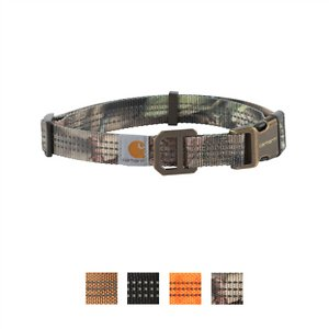 Carhartt Tradesman Dog Collar, Mossy Oak, Large; Keep your furry friend safe and secure with the Carhartt Tradesman Dog Collar. This fully adjustable collar is made of durable nylon webbing with duck canvas weave. It has a plastic strap keeper and adjuster with a heavy-duty plastic side release buckle and rugged slotted metal D-ring to hold your pup's tag. This collar is also visible in low light situations as the webbing has reflective triple needle stitch. Get your paw-tner out and about with the Carhartt Tradesman Dog Collar.